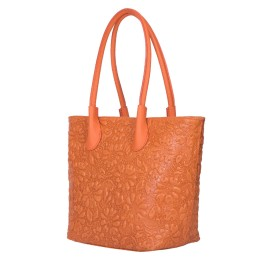 Geanta din piele naturala cu model floral Chloe portocalie
