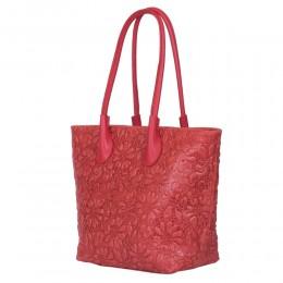 Geanta din piele naturala cu model floral Chloe rosie