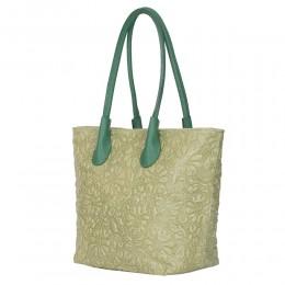 Geanta din piele naturala cu model floral Chloe verde