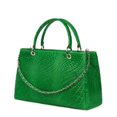 Geanta din piele naturala Madalina verde