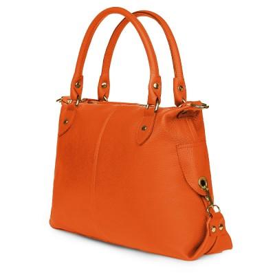 Geanta dama piele naturala Francesca portocalie