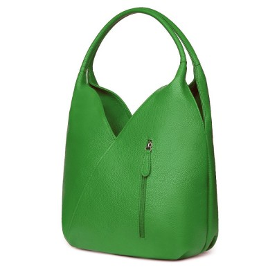Geanta piele naturala Lorena verde