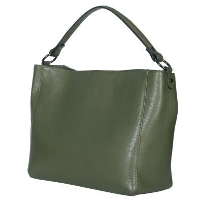 Geanta din piele Victoria verde