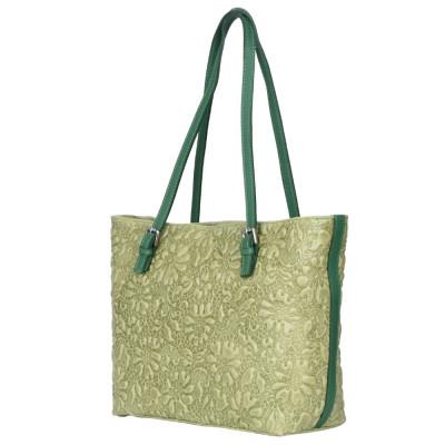 Geanta din piele amprentata cu model floral Emilia verde