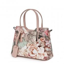Geanta dama din piele cu model floral Mariella FF1