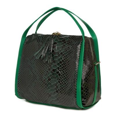 Geanta piele lacuita Rosetta verde