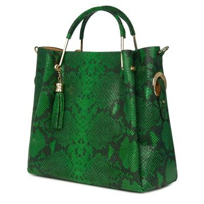 Geanta din piele lacuita cu model sarpe Fabiana verde