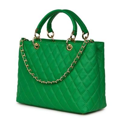 Geanta din piele matlasata Gisella verde