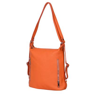 Geanta rucsac 2-in-1 din piele naturala Alessia portocalie