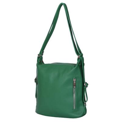 Geanta rucsac 2-in-1 din piele naturala Alessia verde