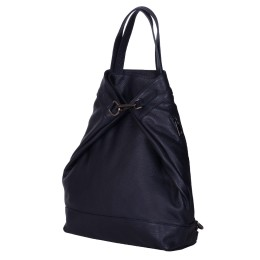 Rucsac si geanta din piele naturala 2-in-1 Ingrid bleumarin