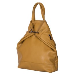 Rucsac si geanta din piele naturala 2-in-1 Ingrid galben
