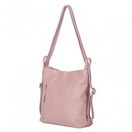 Geanta rucsac 2-in-1 din piele naturala Alesandra roz