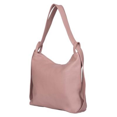 Geanta si rucsac din piele naturala 2-in-1 Alda roz