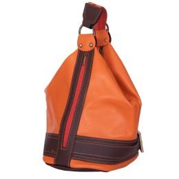 Geanta si rucsac din piele naturala 2-in-1 Sonia portocalie