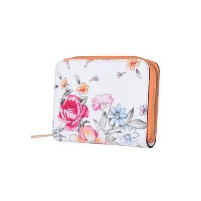 Portofel din piele cu imprimeu floral Laurel portocaliu