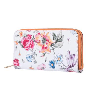 Portofel din piele cu imprimeu floral Laurel portocaliu XL