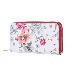 Portofel din piele cu imprimeu floral Laurel rosu XL