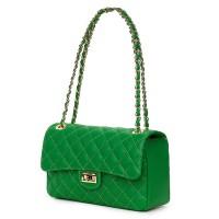 Poseta verde din piele matlasata Angela