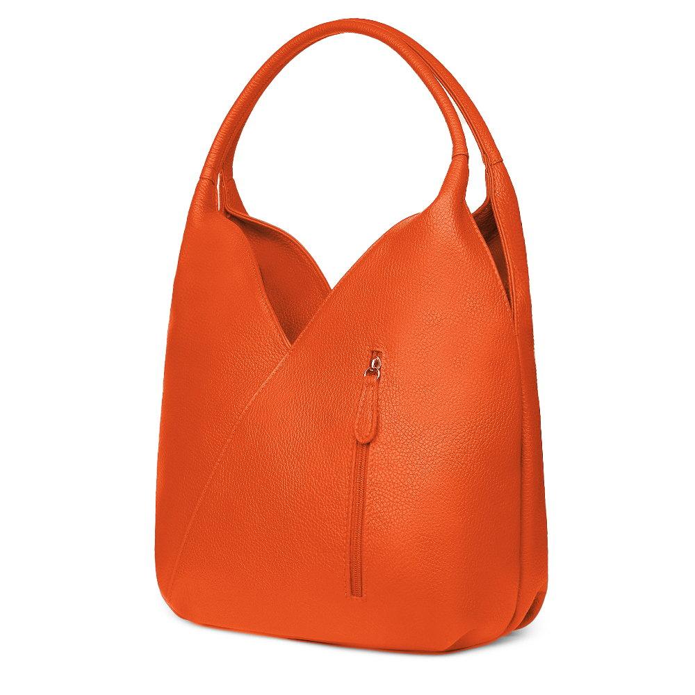 Geanta piele naturala Lorena portocalie imagine myown.ro