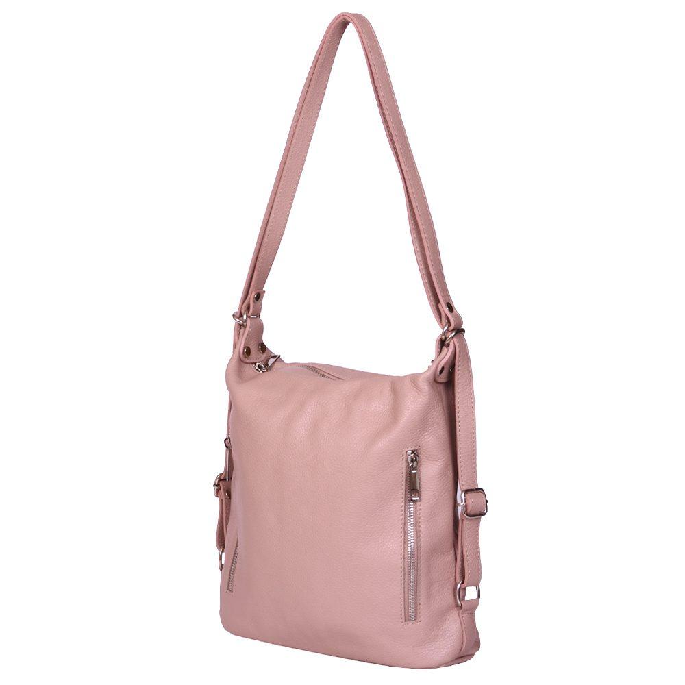 Geanta rucsac 2-in-1 din piele naturala Alessia roz imagine myown.ro