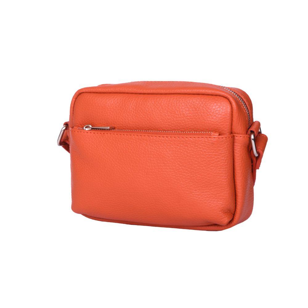 Poseta casual din piele naturala Azzurra portocalie imagine myown.ro